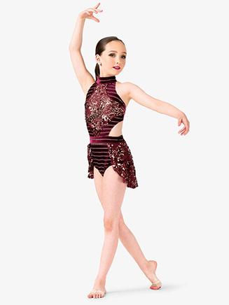 Girls Performance Side Cutout Halter Leotard - Style No EL173C