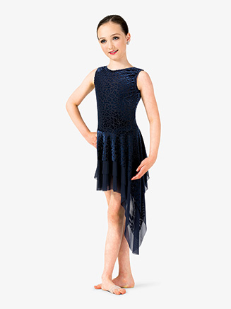 Girls Performance Leopard Print Velvet 2-Piece Dress Set - Style No EL180C