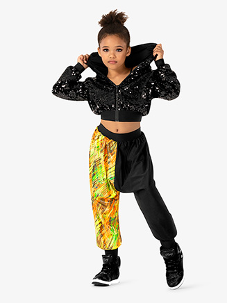 "Girls Performance ""Blaze"" Contrast Print Jogger Pants - Style No EL192C"