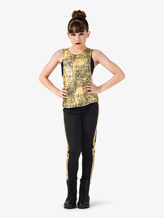 "Girls Performance ""Blaze"" Metallic Loose Tank Top - Style No EL193C"