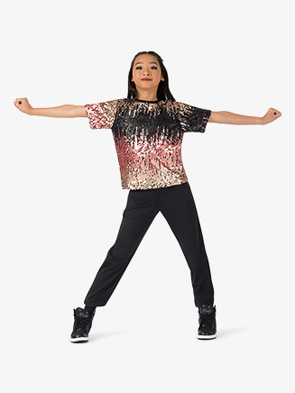 "Girls Performance ""Swag"" Sequin Short Sleeve Top - Style No EL214C"