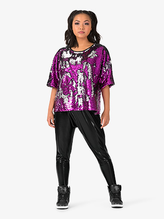 "Womens Performance ""Beats"" Sequin Short Sleeve Top - Style No EL225"