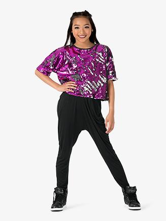 """Girls Performance """"Beats"""" Sequin Short Sleeve Top - Style No EL225C"""