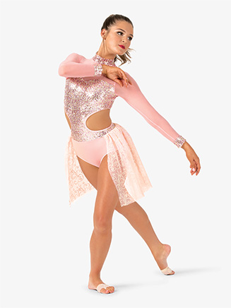 Womens Performance Sequin Long Sleeve Leotard - Style No EL241