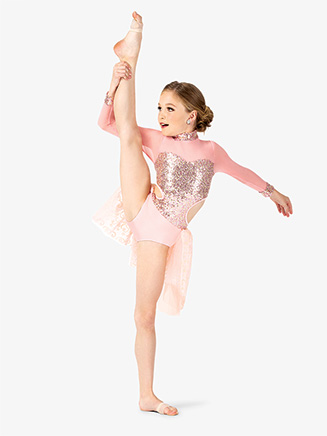 Girls Performance Sequin Long Sleeve Leotard - Style No EL241C