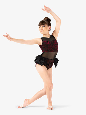 Girls Performance Velvet Bustled Tank Leotard - Style No EL243C