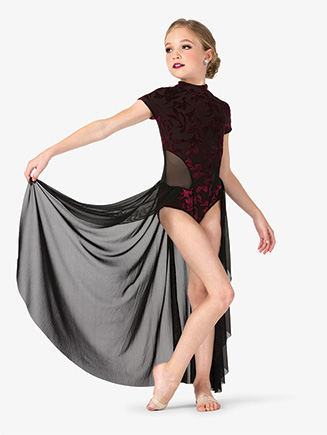 Girls Performance Baroque Velvet Short Sleeve Dress - Style No EL244C