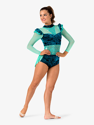Womens Performance Velvet Bustled Long Sleeve Leotard - Style No EL246