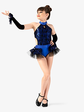 Girls Performance Sequin Halter Leotard - Style No EL248C
