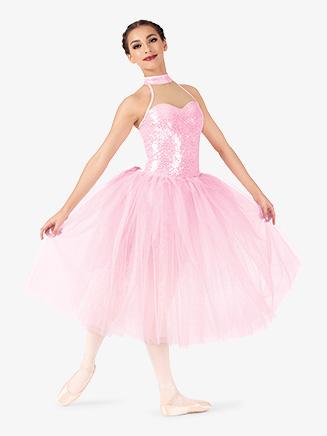 Womens Performance Halter Romantic Tutu Dress - Style No EL253