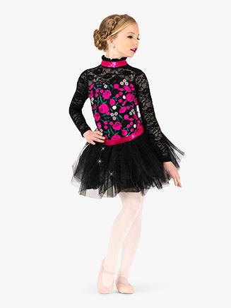 Girls Performance Floral Lace Tutu Dress - Style No EL256C