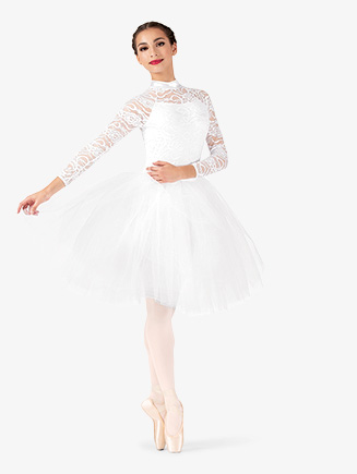 Womens Performance Lace Overlay Romantic Tutu Dress - Style No EL257