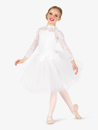 Girls Performance Lace Overlay Romantic Tutu Dress - Style No EL257C