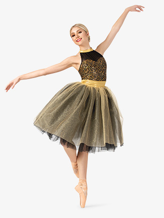 Womens Performance Contrast Sequin Halter Tutu Dress - Style No EL259