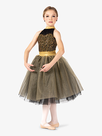 Girls Performance Contrast Sequin Halter Tutu Dress - Style No EL259C