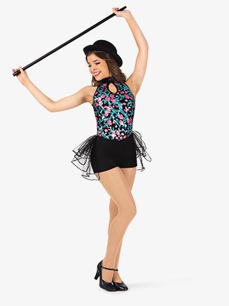 Womens Performance Flower Sequin Halter Shorty Unitard - Style No EL260