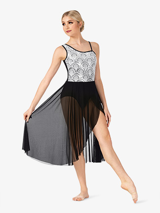 Womens Performance Asymmetrical Two-Tone Dress - Style No EL267