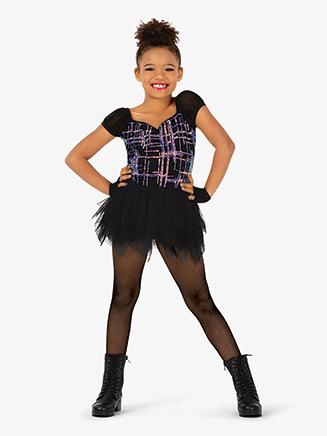 Girls Performance Plaid Print Asymmetrical Dress - Style No EL272C