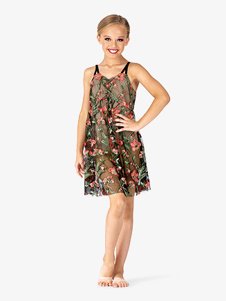 Girls Performance Floral Mesh Camisole Dress - Style No EL273C