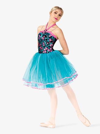 Womens Performance Flower Sequin Halter Tutu Dress - Style No EL286