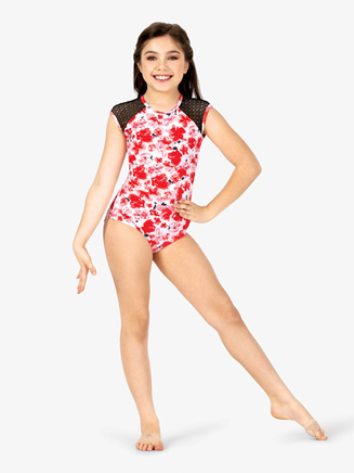 Girls Floral Print Mesh Cap Sleeve Leotard - Style No ELA19C