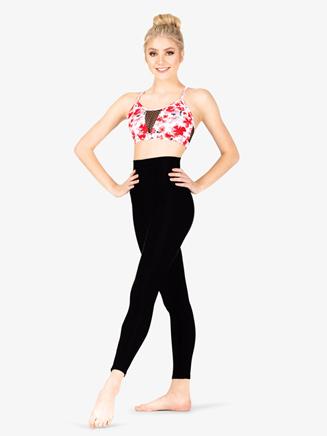 Womens Floral Print Mesh Dance Bra Top - Style No ELA21