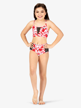 Girls Floral Print Mesh Dance Bra Top - Style No ELA21C