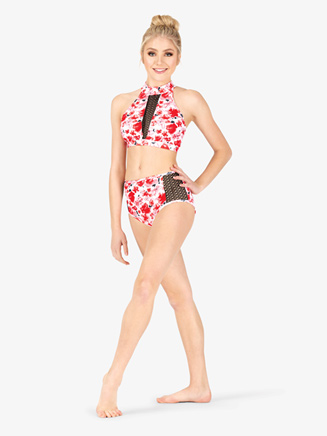 Womens Floral Print Mesh Dance Briefs - Style No ELA22