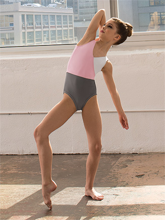Girls Three-Tone V-Front Tank Leotard - Style No ELA24C