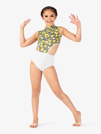 Girls Lemon Print Mock Neck Leotard - Style No ELA29C