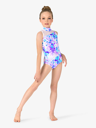 Girls Pastel Floral Mock Neck Leotard - Style No ELA33C