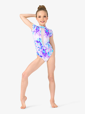 Girls Pastel Floral Plunging Mesh Short Sleeve Leotard - Style No ELA34C