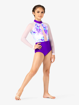 Girls Pastel Floral Long Sleeve Leotard - Style No ELA37C