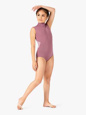 Girls Two-Tone Mesh Mock Neck Tank Leotard - Style No ELA46C
