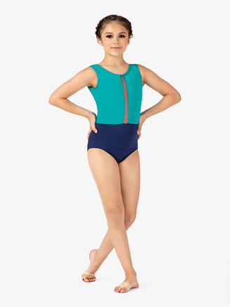 Girls Two-Tone Deep Mesh Insert Tank Leotard - Style No ELA52C