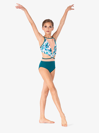 Girls Two-Tone Flower Printed Camisole Leotard - Style No ELA57C
