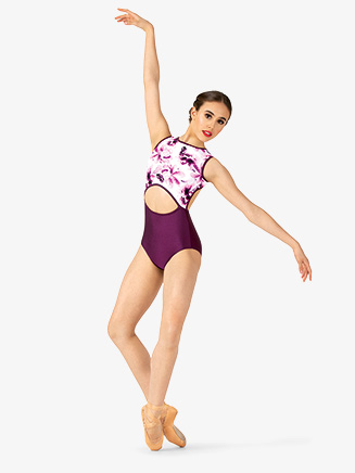 Womens Floral Strappy Back Tank Leotard - Style No ELA6