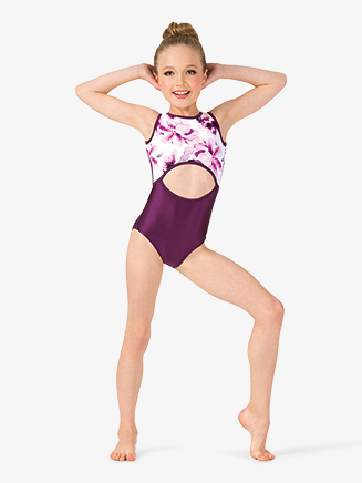 Girls Floral Strappy Back Tank Leotard - Style No ELA6C