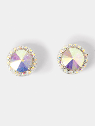 10mm Silver-Plated Post Iridescent Rhinestone Earrings - Style No EP8AI