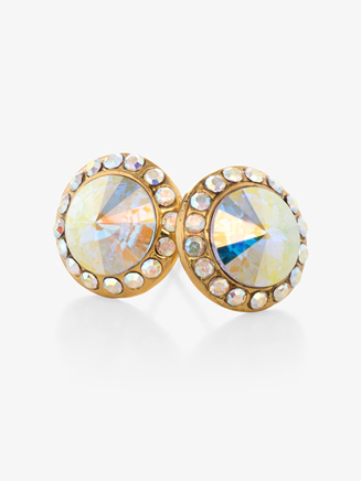 10mm Gold-Plated Post Iridescent Rhinestone Earrings - Style No EP8G