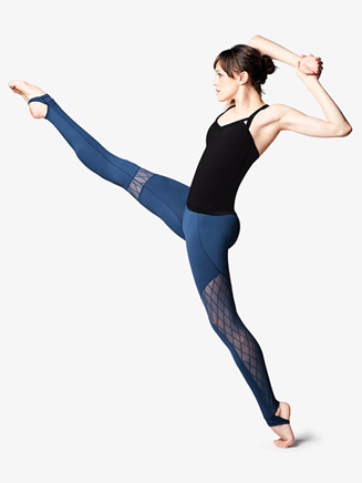 Womens Diamond Flock Mesh Stirrup Dance Leggings - Style No FP5044