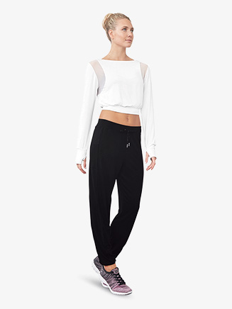 Womens Mesh Insert Drawstring Dance Sweatpants - Style No FP5155