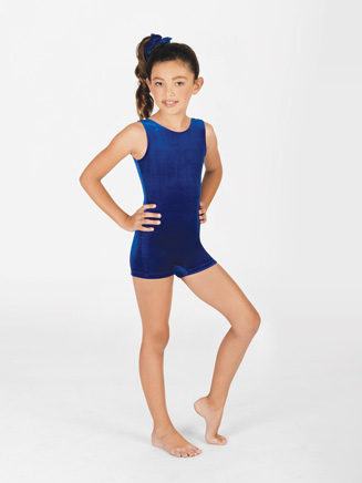 Child Velvet Tank Shorty Unitard - Style No G506C