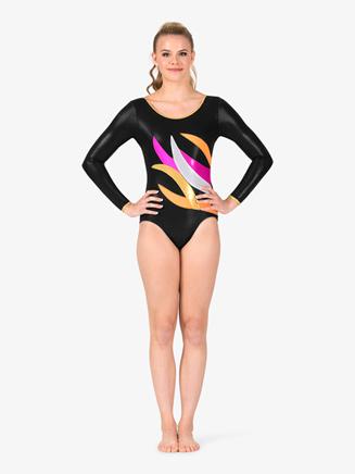 Womens Gymnastics Contrast Spliced Long Sleeve Leotard - Style No G675x