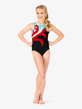 Girls Gymnastics Spliced Pattern Tank Leotard - Style No G678Cx
