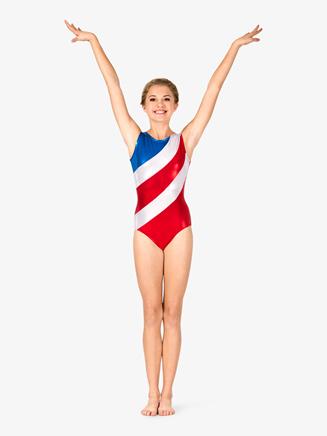 Womens Gymnastics Diagonal Patriotic Print Tank Leotard - Style No G686x
