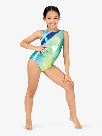Girls Gymnastics Twinkle Print Multi-Strap Back Tank Leotard - Style No G720C