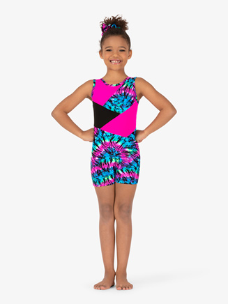 Girls Gymnastics Tie-Dye Tank Shorty Unitard - Style No G728C