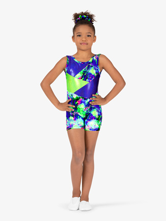 Girls Gymnastics Splatter Print Tank Shorty Unitard - Style No G731C