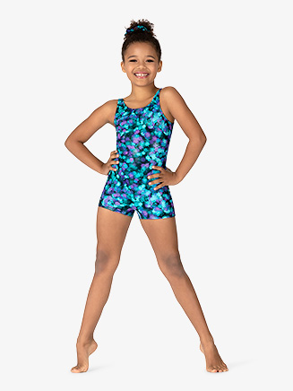 "Girls ""Ink Spot"" Tank Shorty Unitard - Style No GB169C"